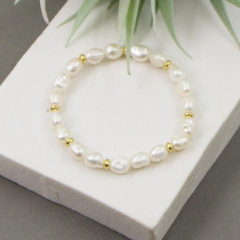 BEADED PEARL GOLD BRACELET